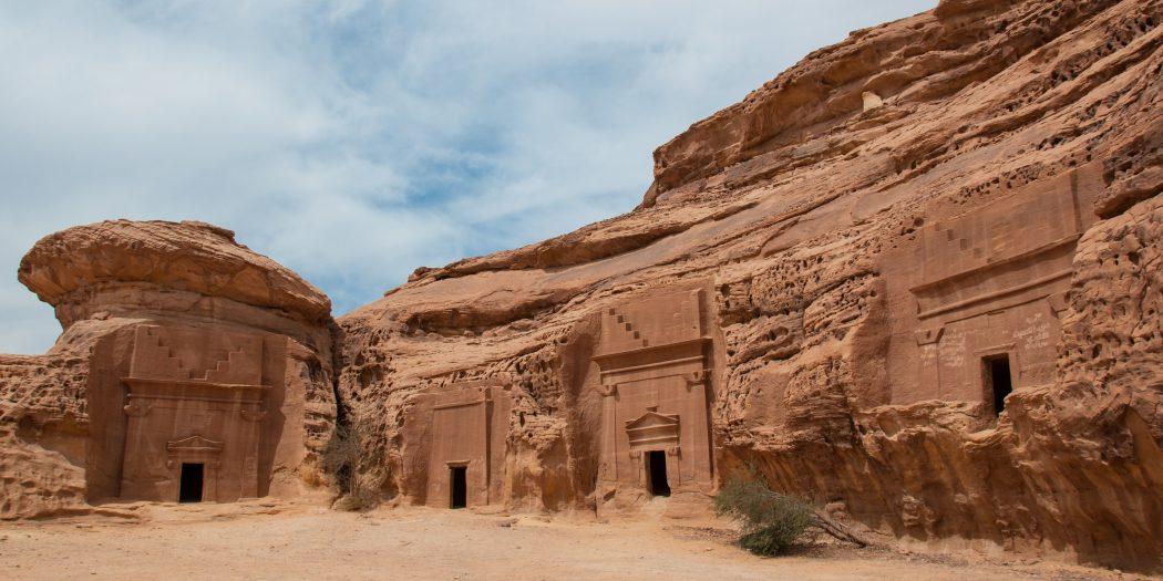Nabatean tombs in Madan Saleh archeological site Saudi Arabia.